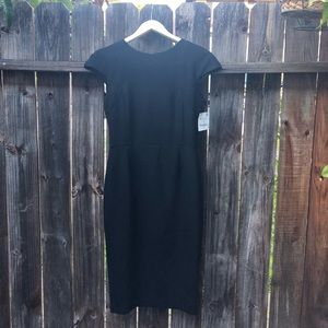NWT - Zara Cap Sleeve Midi Dress - Black - Med